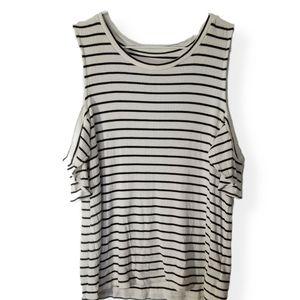 💃AEO   Soft & Sexy White Stripe Ribbed Shirt Sz L